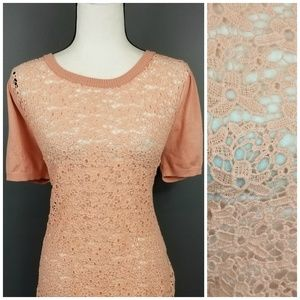 Maurices Sweaters - MAURICES nwt Peach Lace front semi sheer Sweater L